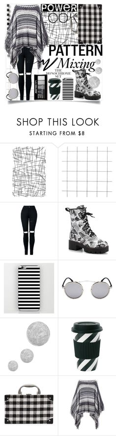 """Pattern mixing,style fixing! ⚫️"" by jelena-bozovic-1 ❤ liked on Polyvore featuring Topshop, Miss Étoile and Eyeko"