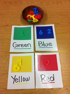 Color sorting mats-naming the numbers is a bonus :)