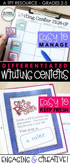 """Engaging, differentiated writing centers that give students a variety of meaningful writing practice. Each unique center includes student directions, planning organizer, writing paper, and writing tips. Includes assembly instructions to create """"take-and-go"""" folders, sign-up charts, record sheets, and idea lists to make the centers easy to manage and easy to keep fresh. 17 complete centers included in the bundle. Gr 2-5 ($) #writingcenters #writingstations 5th Grade Writing, Pre Writing, Teaching Writing, Writing Practice, Writing Paper, Writing Activities, Teaching Ideas, Writing Station, Writing Centers"""
