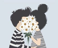 """This illustration is perfect for something """"love"""" related. Very creative! Art And Illustration, Illustration Mignonne, Inspiration Art, Grafik Design, Art Design, Mail Art, Cute Wallpapers, Iphone Wallpaper, Daisy Wallpaper"""
