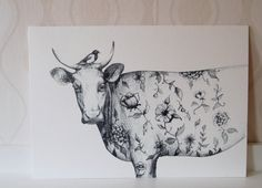 The Tattooed Cow illustration  Floral Cow & Crow by linnwarme