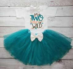2nd Birthday Girl- Second birthday outfit-Teal and White outfit-teal tutu- Cake Smash - In Two the wild Birthday Girl Outfit by DaliceDesigns on Etsy