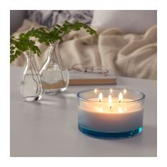 SOMMAR 2016 Scented candle in glass, 3 wicks, fresh lemonade, yellow - IKEA Glass Candle, Candle Jars, Candle Holders, Ikea Candles, Vases, Yellow Candles, Perfume, Candlemaking, Paraffin Wax