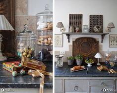 Bonbonnière en verre 'Maisons du Monde' enfermant des chocolats colorés 'Chapon', ancienne plaque foyère de cheminée en fonte détournée en crédence, gravures d'herbiers, boutique 'Secrets d'Intérieurs'