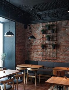 restaurant decor 51 Craziest Coffee Shop Ideas That Most Inspiring Decoration Restaurant, Deco Restaurant, Restaurant Seating, Modern Restaurant, Brick Restaurant, Restaurant Ideas, Modern Cafe, Pub Decor, Moscow Restaurant