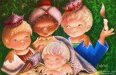 Trois Rois Mages enfants visitent l'Enfant Jésus, tous sourient, l'un tient une bougie - 1975 (from http://mercipourlacarte.com/picture?/1343/)
