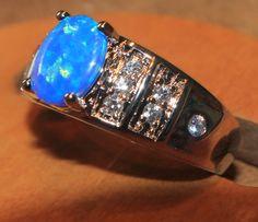 blue fire opal ring 925  Sterling silver jewelry Sz 8 exquisite zircon Cz 002AV #Cocktail