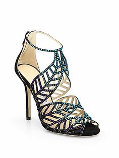 0c825ced1b75 Jimmy Choo Kallai Jeweled Suede Sandals Multicolored crystals accentuate  the artistic cutouts of this expertly crafted suede pair.