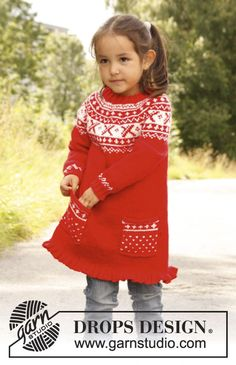 "Knitted DROPS tunic worked top down in ""Karisma"" with round yoke and Norwegian pattern.  Size 3 - 12 years.  Free pattern by DROPS Design."