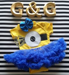 2 Pcs Glitter Minion Yellow and Blue Tutu Halloween Onesie Bodysuit Baby Girl Costume  Let us add a little or a lot of shine to your little