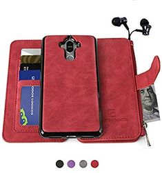 Huawei Mate 9 Case, Modos Logicos [Detachable Wallet in Cash Storage][Up to 14 Card Slots 1 Photo Window] Premium PU Leather Purse with Removable Inner Magnetic TPU Case - Red