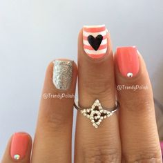 Coral & White Stripe Nail with Heart and Silver Accent Nail