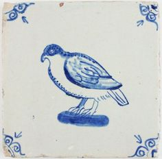 Antique Delft tile in blue depicting a pigeon, 17th century | Antique Tile Shop