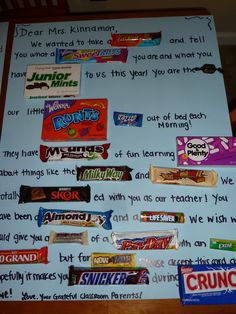 My sister and I (mostly her), made these for Teacher Appreciation Week for Andrew's teachers. I am posting them just so I have them recorde. Candy Poems, Candy Quotes, Candy Sayings, Diy Birthday Wishes, Birthday Thank You, Birthday Ideas, Teacher Birthday, Birthday Candy, Birthday Crafts