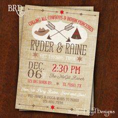Cowboys Indians Birthday Party Invitation by 3110MoreThanRubies