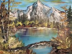 Autumn Lake By The Mountain - Bob Ross Style Painting, Acrylic on Canvas, Handmade Autumn Lake, Landscape Artwork, Fantasy Paintings, Bob Ross, Canvas Artwork, Stretched Canvas, All Pictures, Picture Show, Mountain