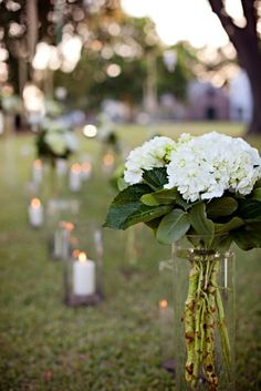 wedding aisle glass vase and candle only