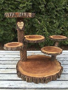 Large Log Elm Wood Rustic Cake Cupcake Pie Stand Wedding 6 Tiered Tiers