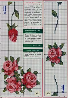 Cross Stitch Rose, Cross Stitch Borders, Cross Stitch Flowers, Cross Stitching, Cross Stitch Embroidery, Hand Embroidery, Flower Boarders, Christmas Embroidery Patterns, Magnolia Flower