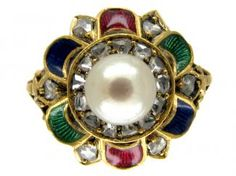 Rose Diamond, Natural Pearl & Enamel Suffragette Ring,enamelled in Suffragetter colors of green, red and white pearl. Indicated the wearer was a member of the Suffragette movement. 18ct gold with diamonds and pearl, circa 1915
