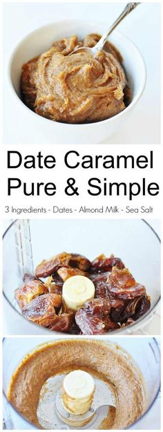3 Ingredient Date Caramel (Vegan and Gluten-Free)! This date caramel recipe has three simple ingredients: Medjool dates, non-dairy milk, and sea salt. It's thick, creamy, and delicious. http://www.veganosity.com