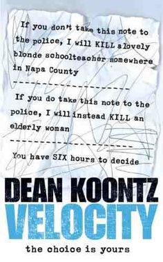 Velocity by Dean Koontz (2005, Hardcover)