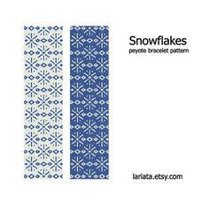 Snowflakes  Peyote Bracelet Pattern  INSTANT DOWNLOAD by lariata