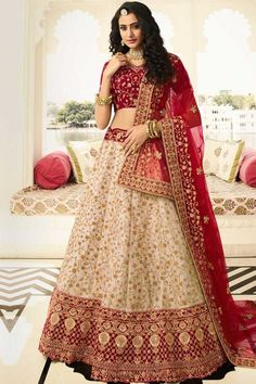 Cream Silk Lehenga With Maroon Velvet Choli. This lehenga choli is embellished with stone, sequins and dori work. Product are available in 32 to 58 sizes. It is perfect for Bridal Wear. Party Wear Lehenga, Silk Lehenga, Saree, Rohit Bal, Designer Bridal Lehenga, Bridal Lehenga Choli, Choli Designs, Lehenga Designs, Outfits