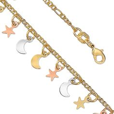 14K Yellow Gold Plated Tri-Colored Star and Moon Charm Bracelet