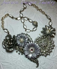 June 2015 Challenge. Glam Bridal Necklace in silver Iced enamels, vintage repurposed rhinestone heart pin, black and crystal accents, pearls, and gorgeous vintage rectangular glass chain.  Designed and created by Marcia Tuzzolino of Aurora Designs Jewelry.  For Sale.