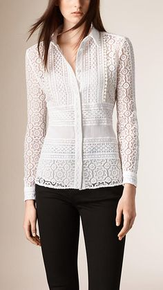 White Lace Shirt - Image 1 Más Burberry women's shirts and tops refined through pattern and proportion, in silk and cotton. Mode Glamour, Burberry Women, Burberry Shirt, Beautiful Blouses, White Shirts, Blouse Designs, White Lace, Blouses For Women, Designer Dresses