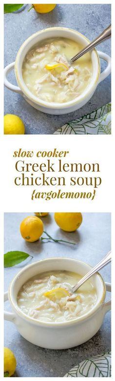 Slow Cooker Greek Lemon Chicken Soup {Avgolemono} takes chicken soup to a whole new level with a rich, creamy egg-lemon broth, and it's made even easier in a slow cooker! @FlavortheMoment
