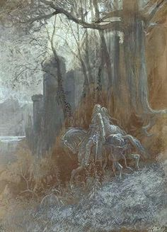 Geraint and Enid Ride Away by Gustave Doré