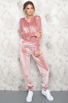 Velvet Track Suit - Elia - Rose storlek M/L