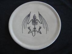 Bat Skeleton plate by PirateRosePottery on Etsy, $40.00