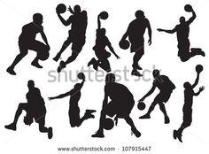 Vector silhouettes of basketball - stock vector