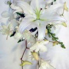 Lilies & blue orchids :-)