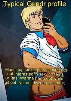 Typical Grindr Profile   Official Gay Geeks http://officialgaygeeks.com