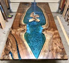 Custom Epoxy Resin River Dining Table – Home sweet home – Epoxi Walnut Coffee Table, Walnut Table, Portland, Epoxy Wood Table, Wood Tables, Dining Tables, Resin Wall Art, Oregon, Wood Table Design