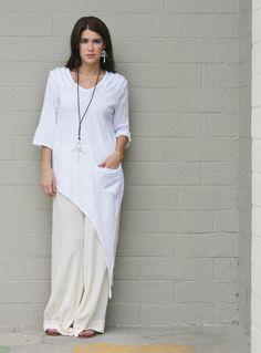 Oh My Gauze Cotton Lagenlook Asymmetric Diane Tunic Top 1 s M 2 L XL Snow | eBay