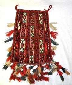 Turkoman Red Multi Wool Hand Knotted Saddle Bag Rug w Tassels Vintage 1950s | eBay $245.00