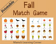 Free Printable Fall Match Game - Mama's Learning Corner pages Thanksgiving Preschool, Fall Preschool, Preschool Kindergarten, Preschool Crafts, Preschool Activities, Kids Crafts, Preschool Food, Preschool Centers, Thanksgiving 2017