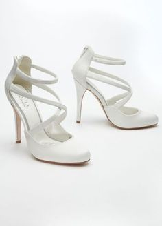 Satin closed toe ankle-strap pump with piped trim and comfort-padded  insole. Heel height  4 Platform height  Available in Ivory and Portobello. 284d8c23c52e
