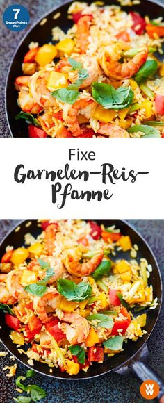 Fixe Garnelen-Reis-Pfanne 7 SmartPoints/Portion Weight Watchers fertig in 25 min. The post Fixe Garnelen-Reis-Pfanne 7 SmartPoints/Portion Weight Watchers fertig in 25 appeared first on fitness. Lunch Snacks, Healthy Snacks, Healthy Recipes, Camarones Fritos, Shrimp And Rice, Carne Picada, Shrimp Recipes, Rice Recipes, Clean Eating Recipes