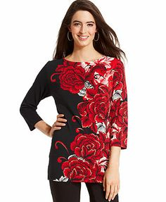 JM Collection Top, Three-Quarter-Sleeve Floral-Print Tunic