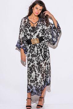 Cute cheap black floral print chiffon kimono sleeve boho duster dress coat