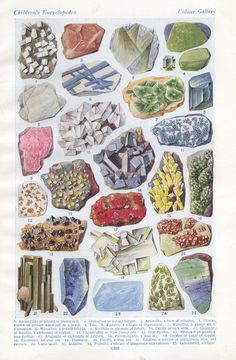 Vintage 1930s book plate. Illustrations of 25 minerals and precious stones via Etsy
