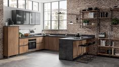 Multiple solutions to accommodate the search for design, comfort and quality One Wall Kitchen, Loft Kitchen, Kitchen Cabinet Design, Interior Design Kitchen, Kitchen Cabinets, Kitchen Peninsula, Kitchen Models, Kitchen Furniture, Decorating Kitchen