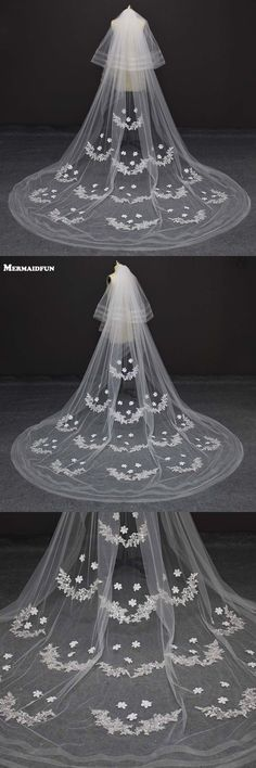 Real Photo Two Layer Lace Appliques 3 Meters Wedding Veil Voile Mariage Ivory/white Wedding Veil For Bridal Dress Velos De Novia