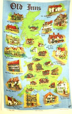 Ulster Old Inns Public Bar Tea Towel  Irish Linen by FunkyKoala